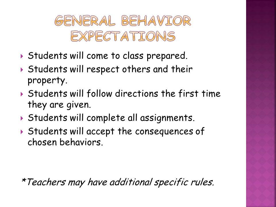 General Behavior Expectations