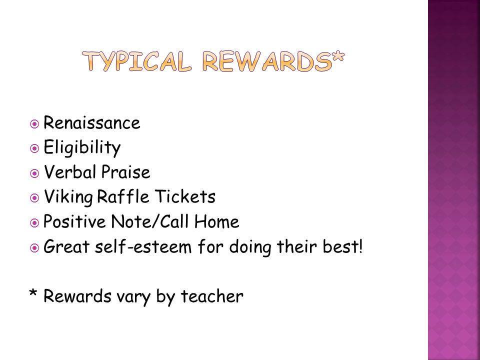 Typical Rewards* Renaissance Eligibility Verbal Praise