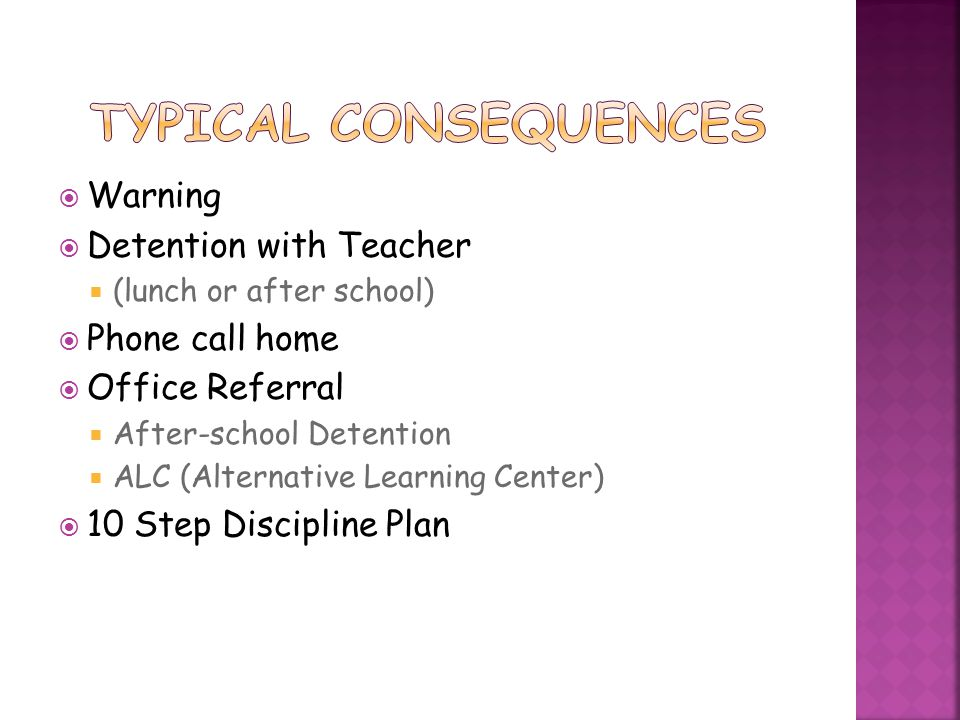 Typical Consequences Warning Detention with Teacher Phone call home