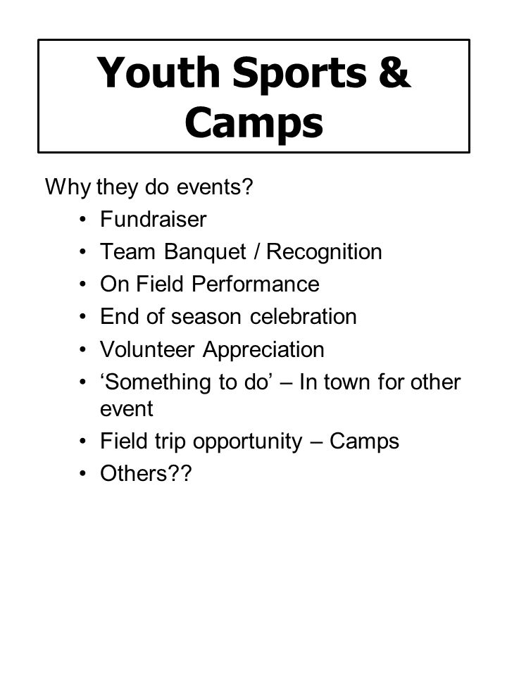 Youth Sports & Camps Why they do events Fundraiser