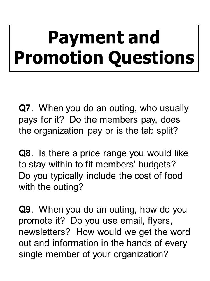 Payment and Promotion Questions