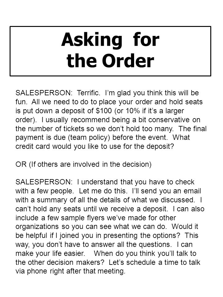 Asking for the Order.