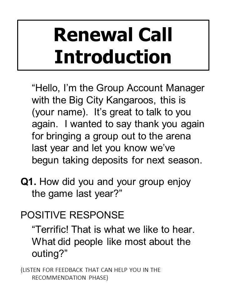Renewal Call Introduction