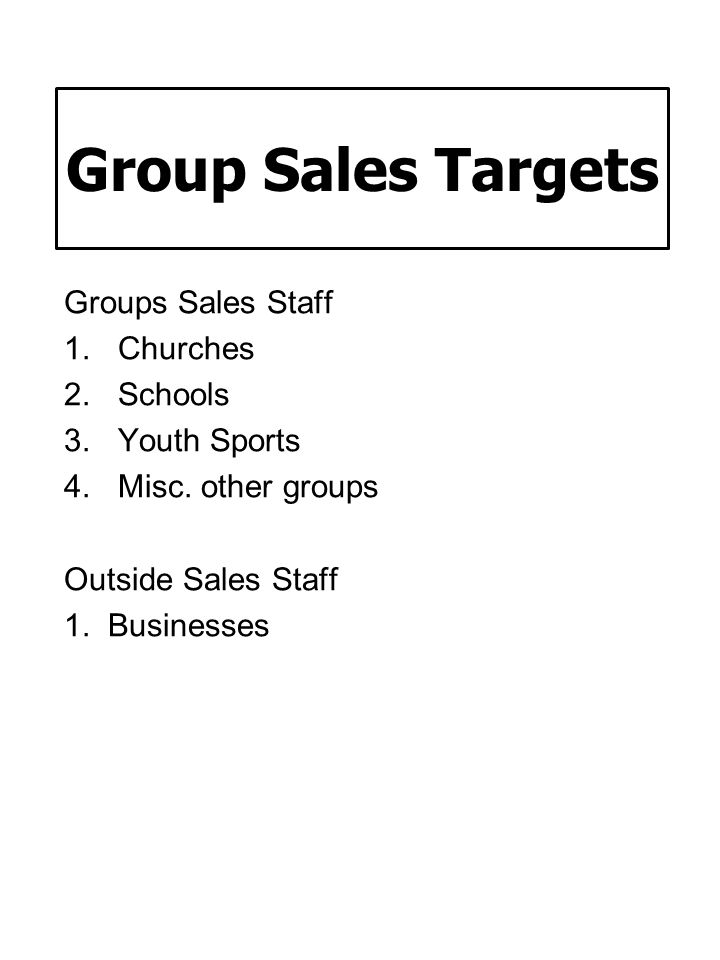 Group Sales Targets Groups Sales Staff Churches Schools Youth Sports