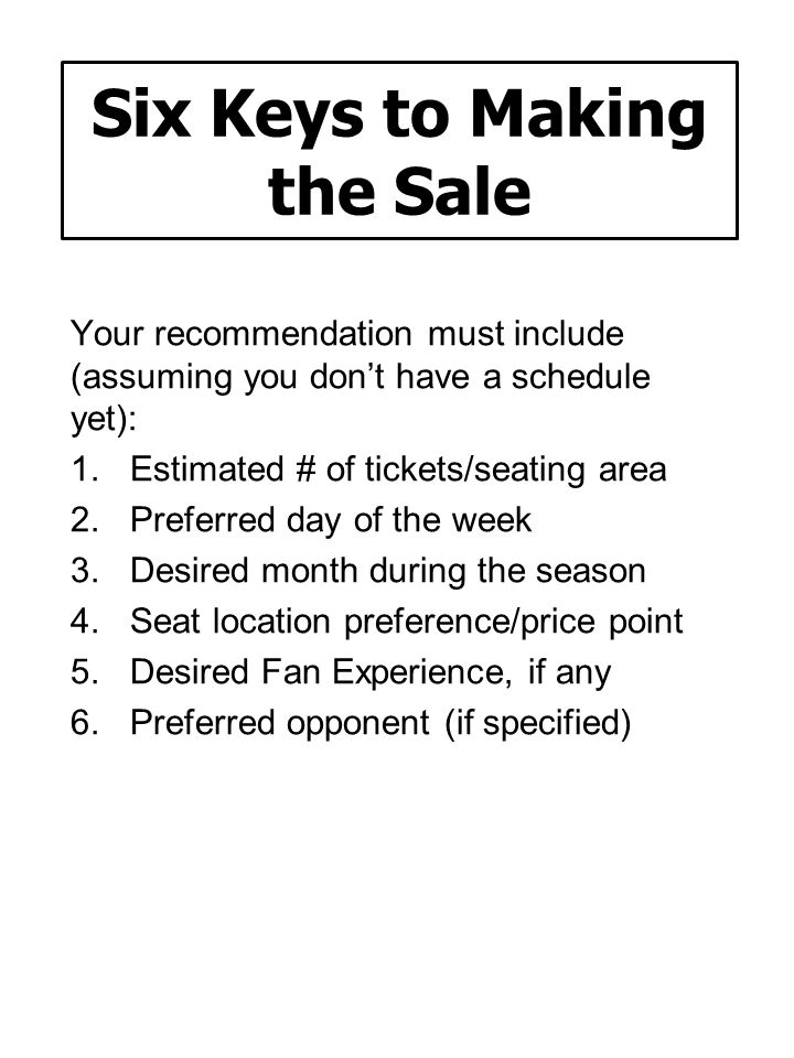 Six Keys to Making the Sale