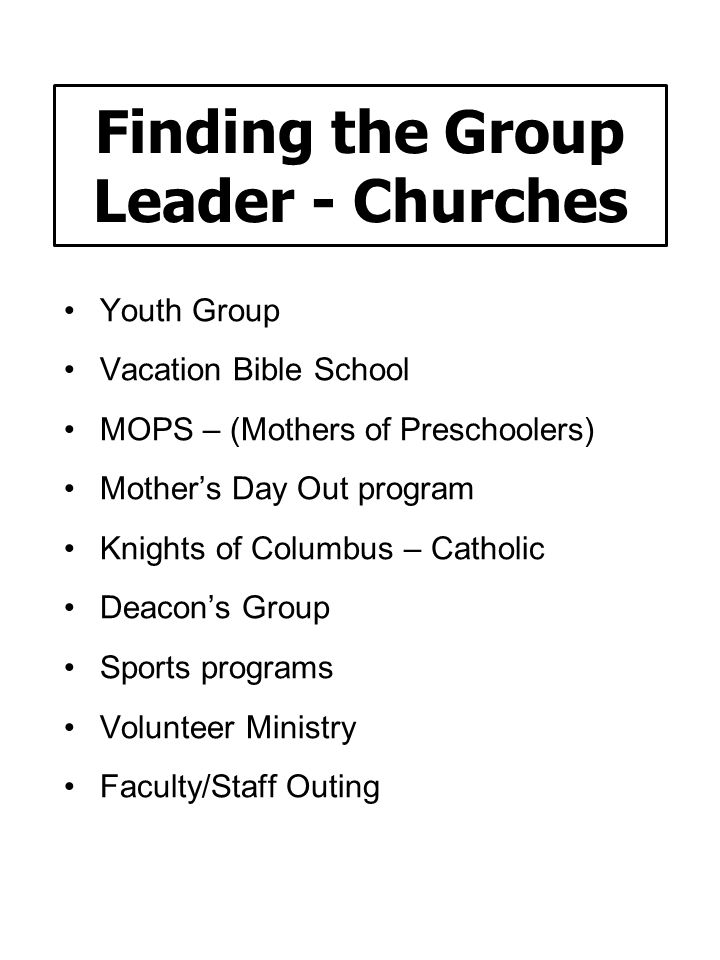 Finding the Group Leader - Churches