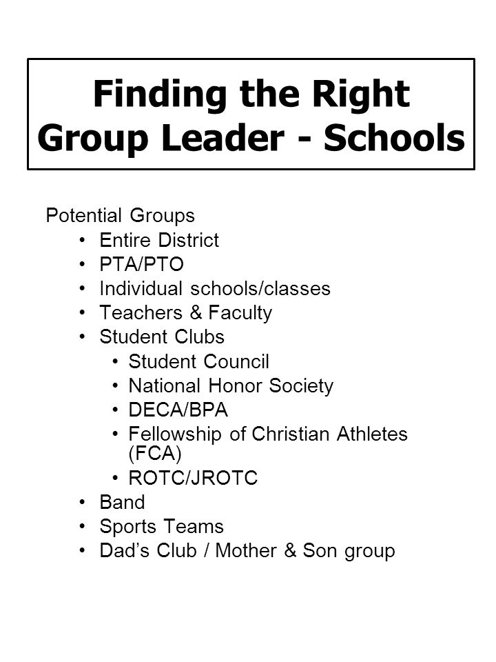 Finding the Right Group Leader - Schools