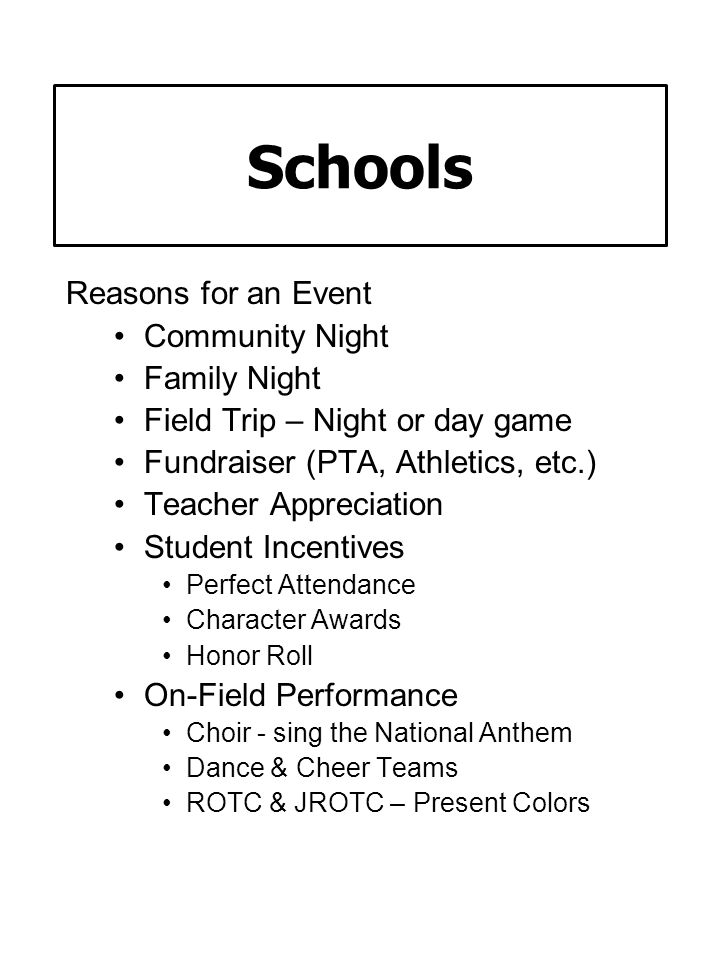Schools Reasons for an Event Community Night Family Night