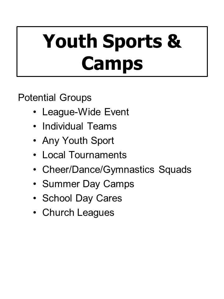 Youth Sports & Camps Potential Groups League-Wide Event