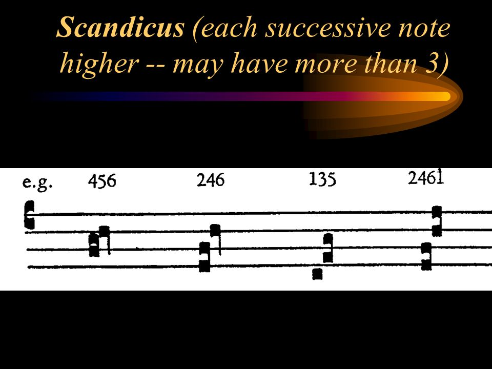 Scandicus (each successive note higher -- may have more than 3)