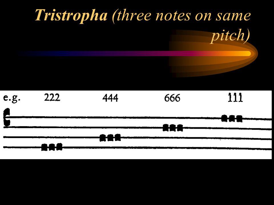 Tristropha (three notes on same pitch)