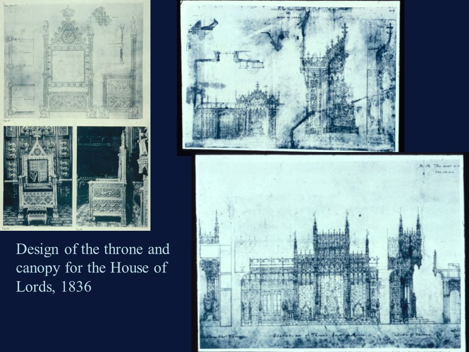 Design of the throne and canopy for the House of Lords, 1836