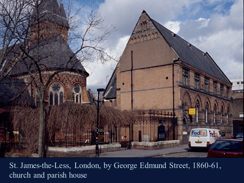St. James-the-Less, London, by George Edmund Street, 1860-61, church and parish house