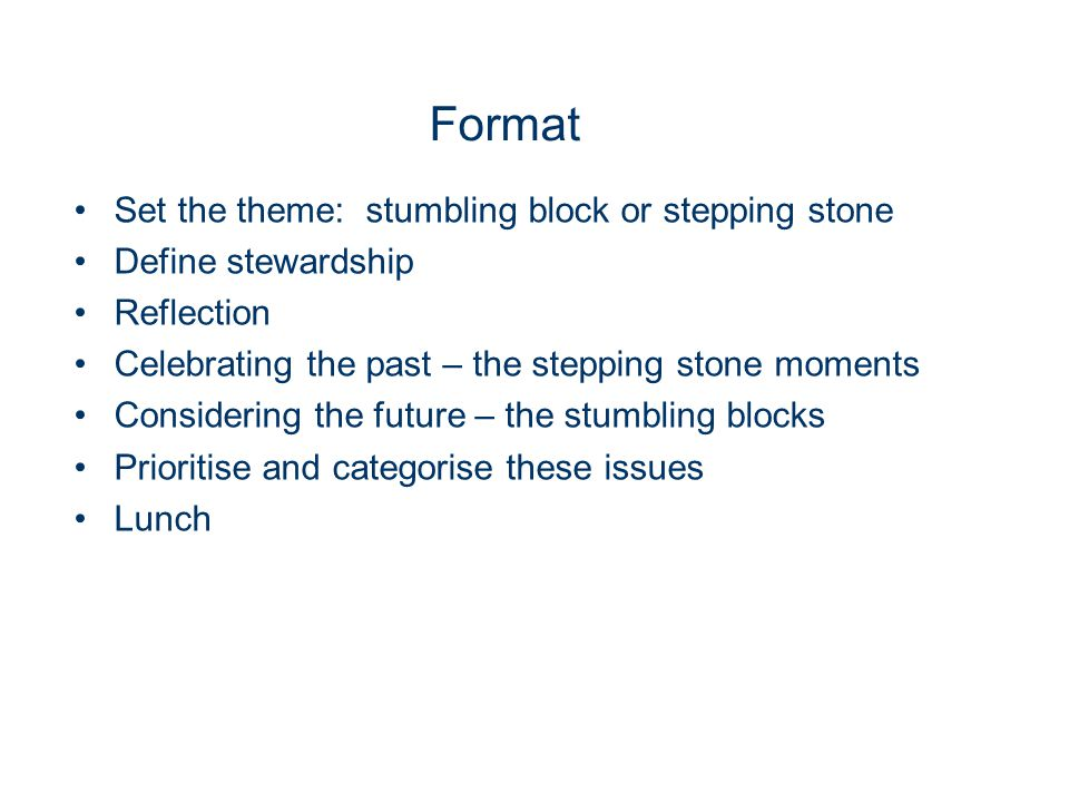 Format Set the theme: stumbling block or stepping stone