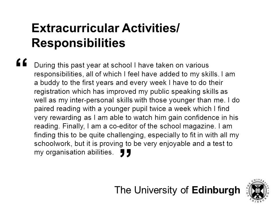 Extracurricular Activities/ Responsibilities