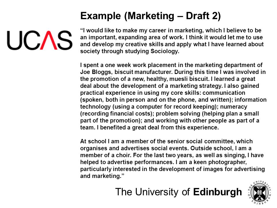 Example (Marketing – Draft 2)