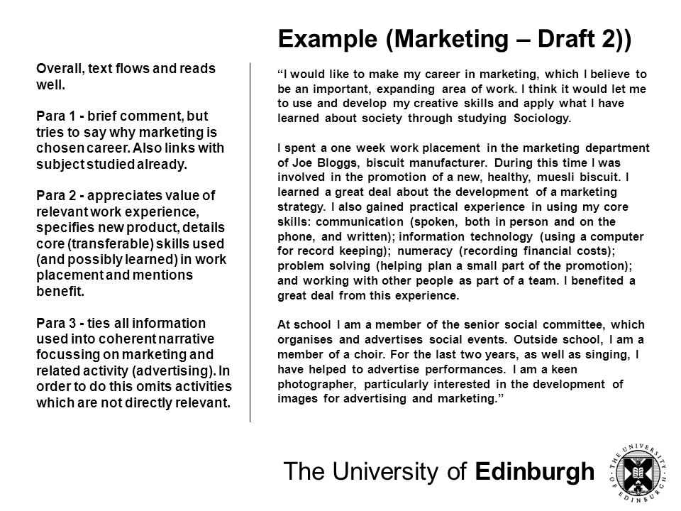Example (Marketing – Draft 2))