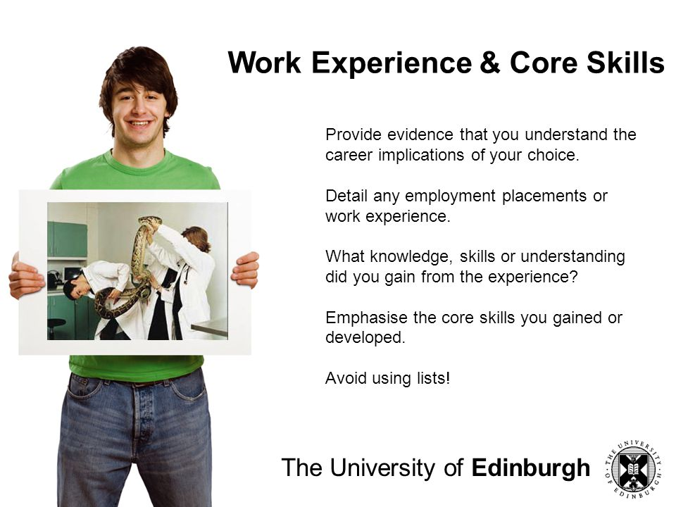 Work Experience & Core Skills