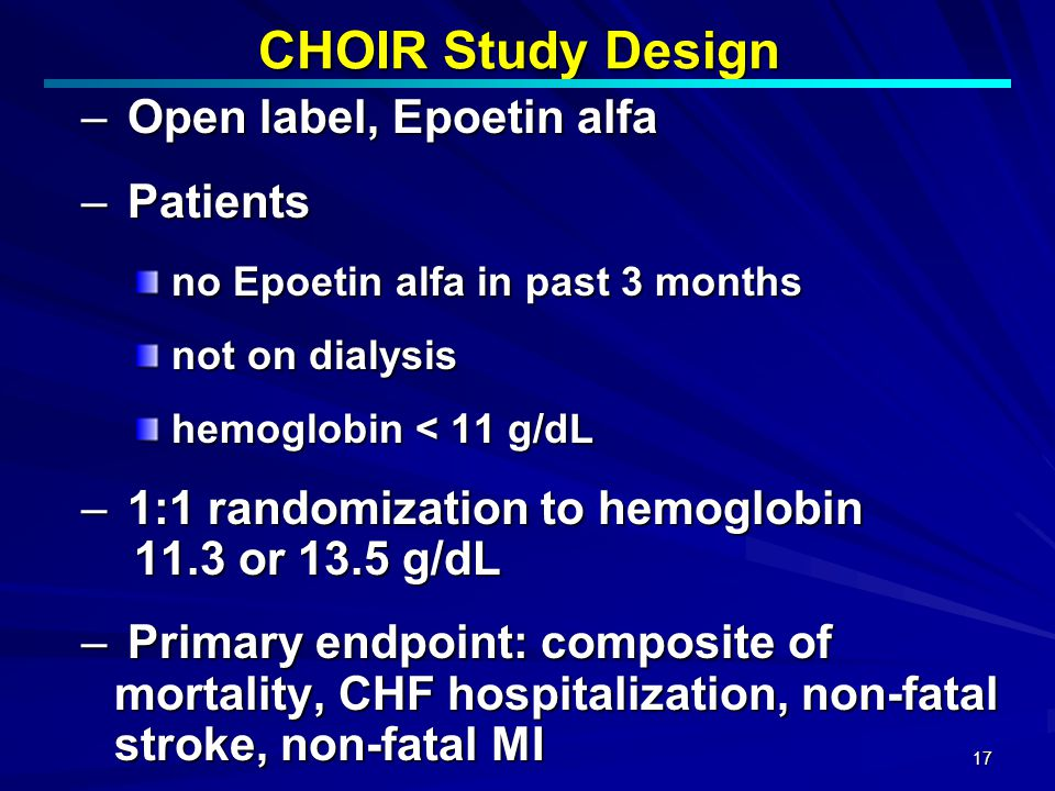 CHOIR Study Design Open label, Epoetin alfa Patients