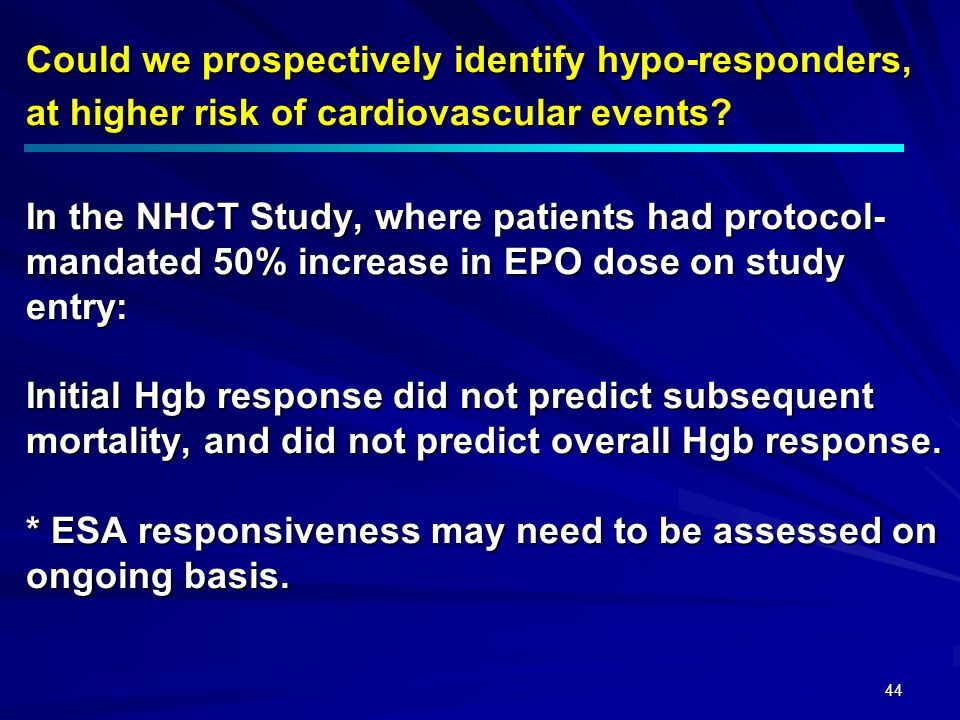 Could we prospectively identify hypo-responders, at higher risk of cardiovascular events.