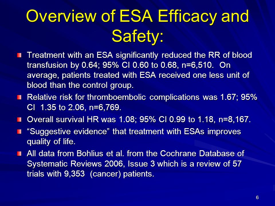 Overview of ESA Efficacy and Safety: