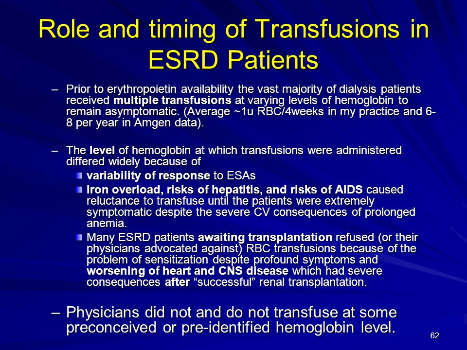 Role and timing of Transfusions in ESRD Patients