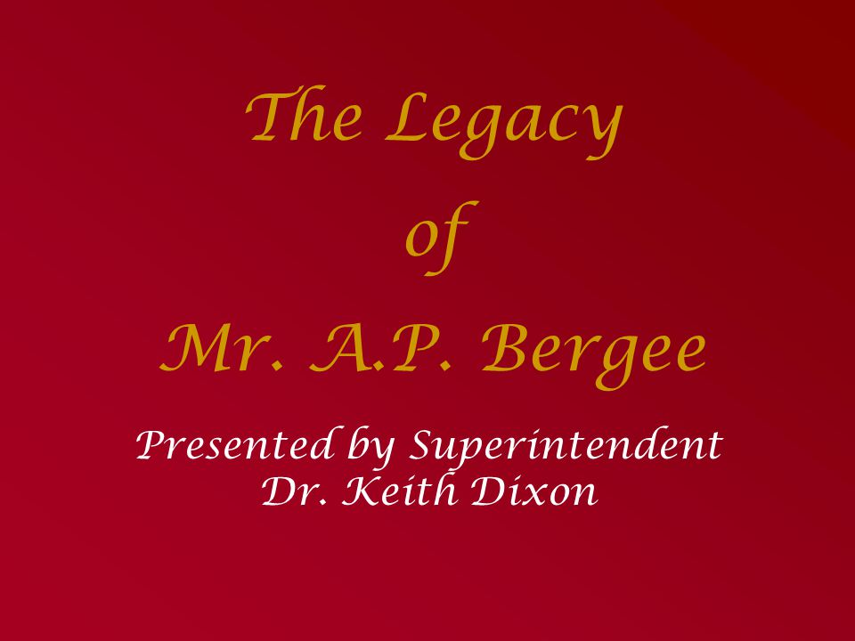 Presented by Superintendent Dr. Keith Dixon