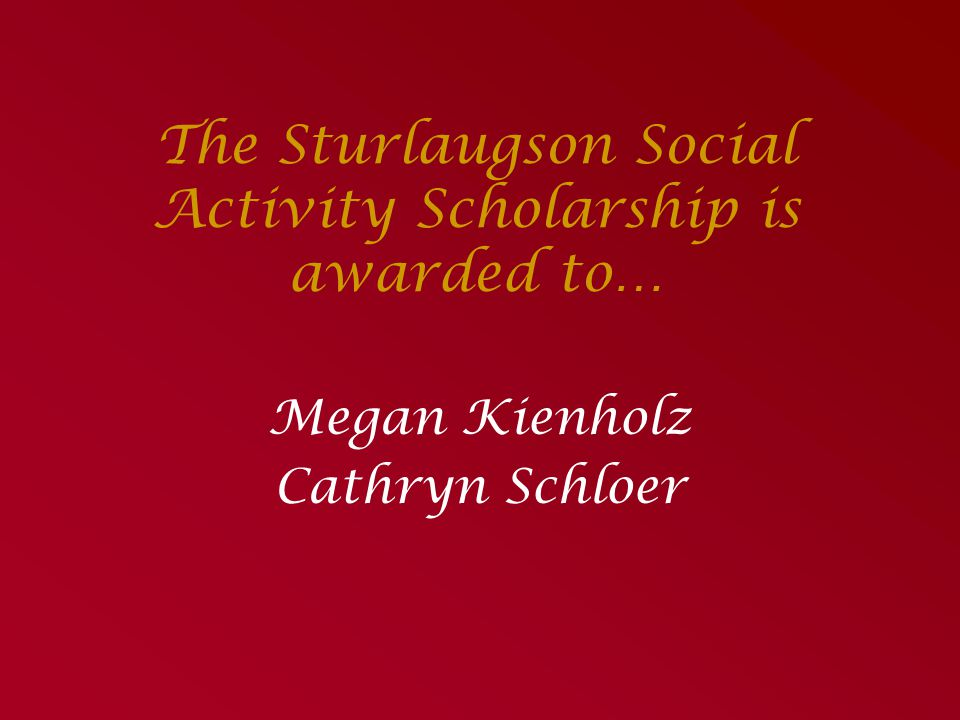 The Sturlaugson Social Activity Scholarship is awarded to…