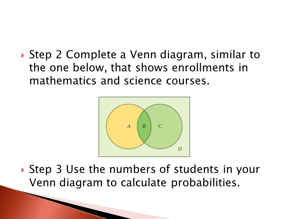 Step 2 Complete a Venn diagram, similar to the one below, that shows enrollments in mathematics and science courses.