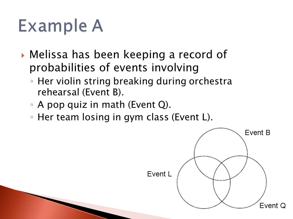 Example A Melissa has been keeping a record of probabilities of events involving. Her violin string breaking during orchestra rehearsal (Event B).
