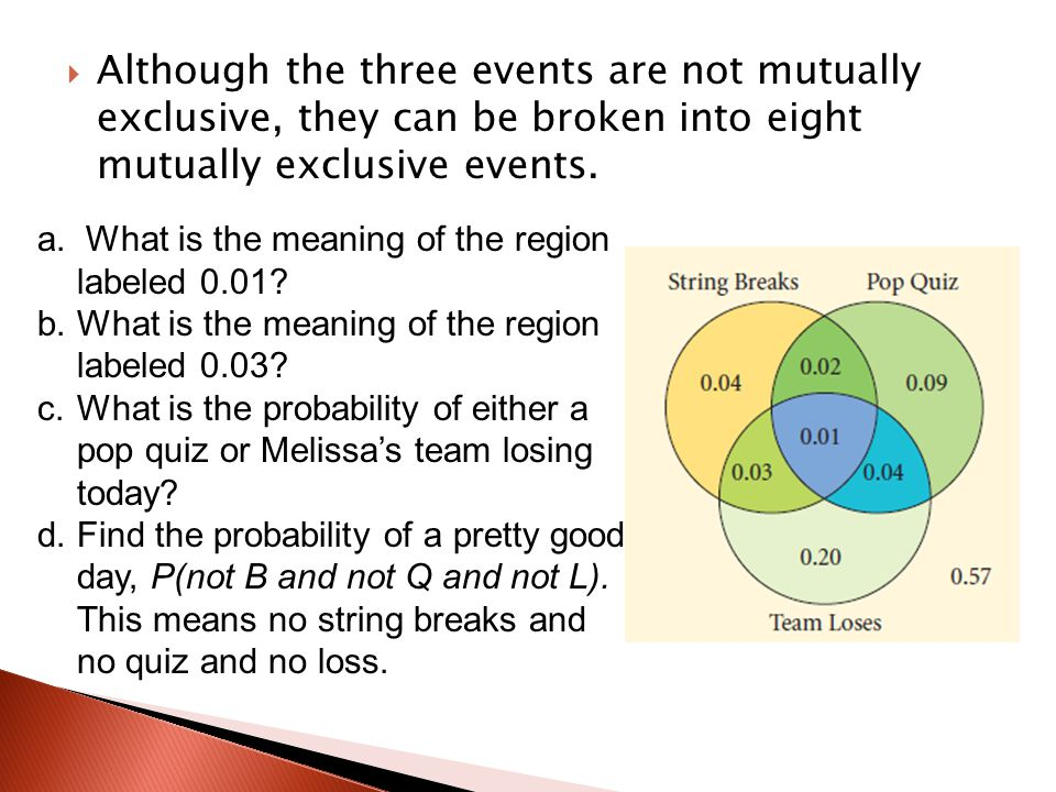 Although the three events are not mutually exclusive, they can be broken into eight mutually exclusive events.