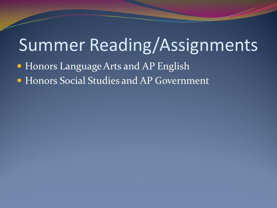 Summer Reading/Assignments
