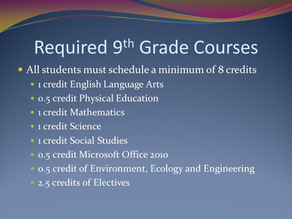 Required 9th Grade Courses