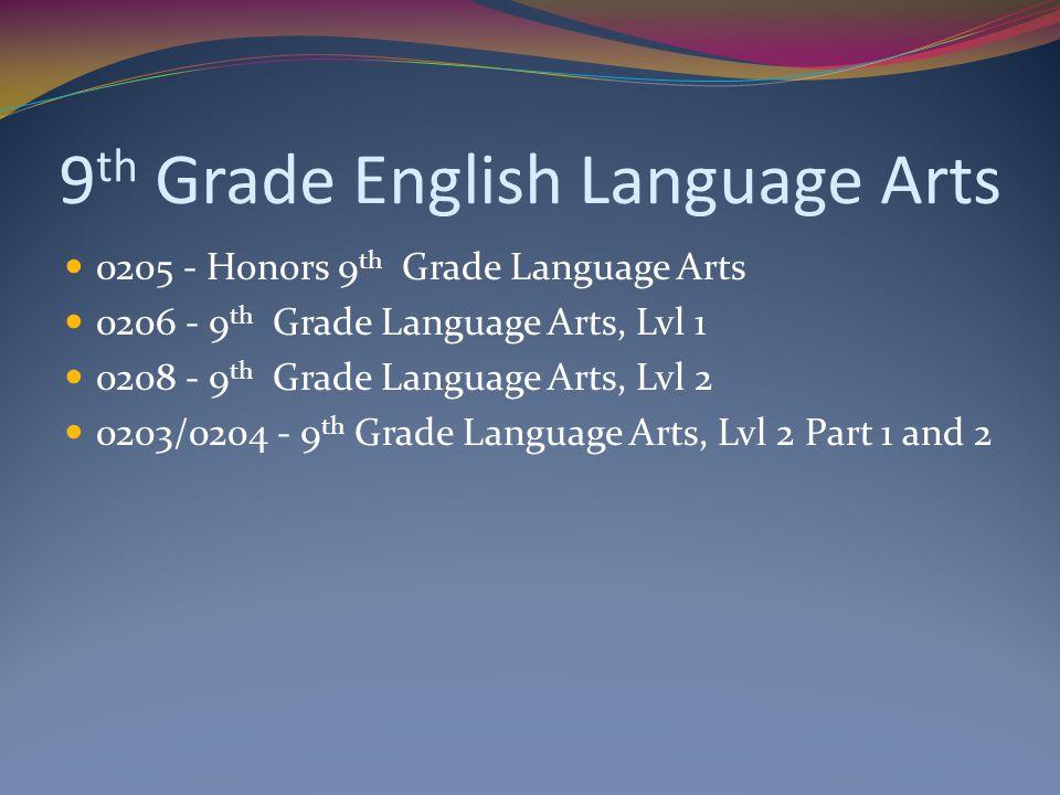 9th Grade English Language Arts