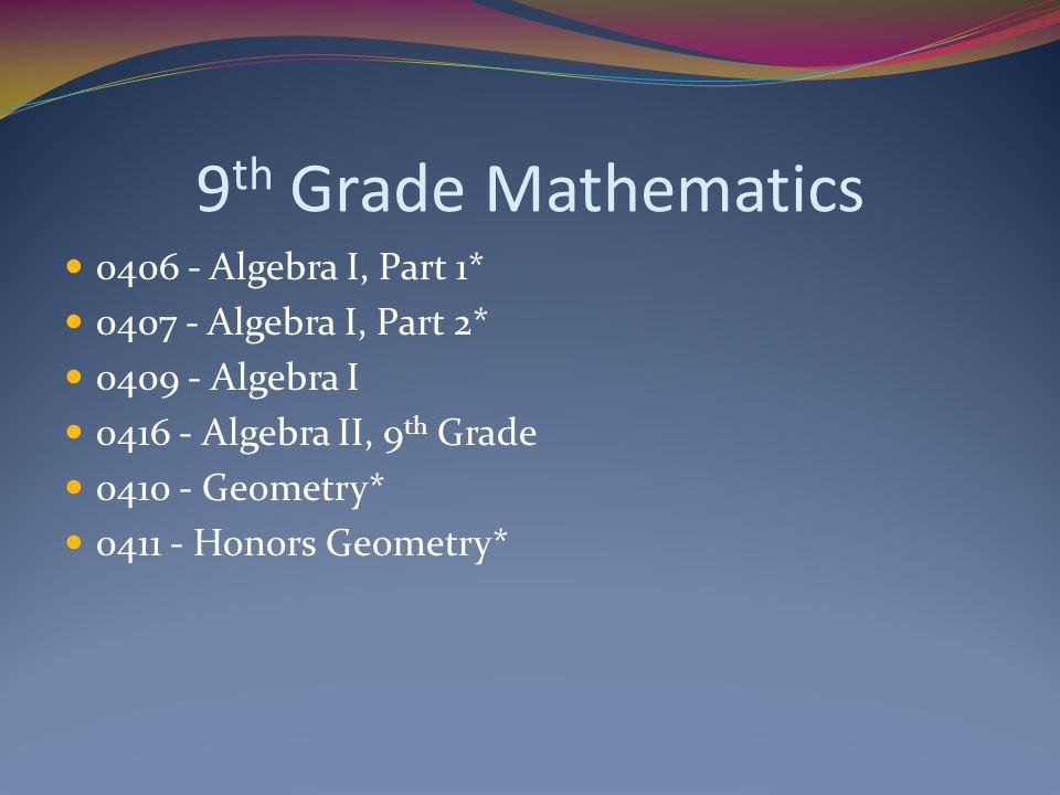 9th Grade Mathematics 0406 - Algebra I, Part 1*