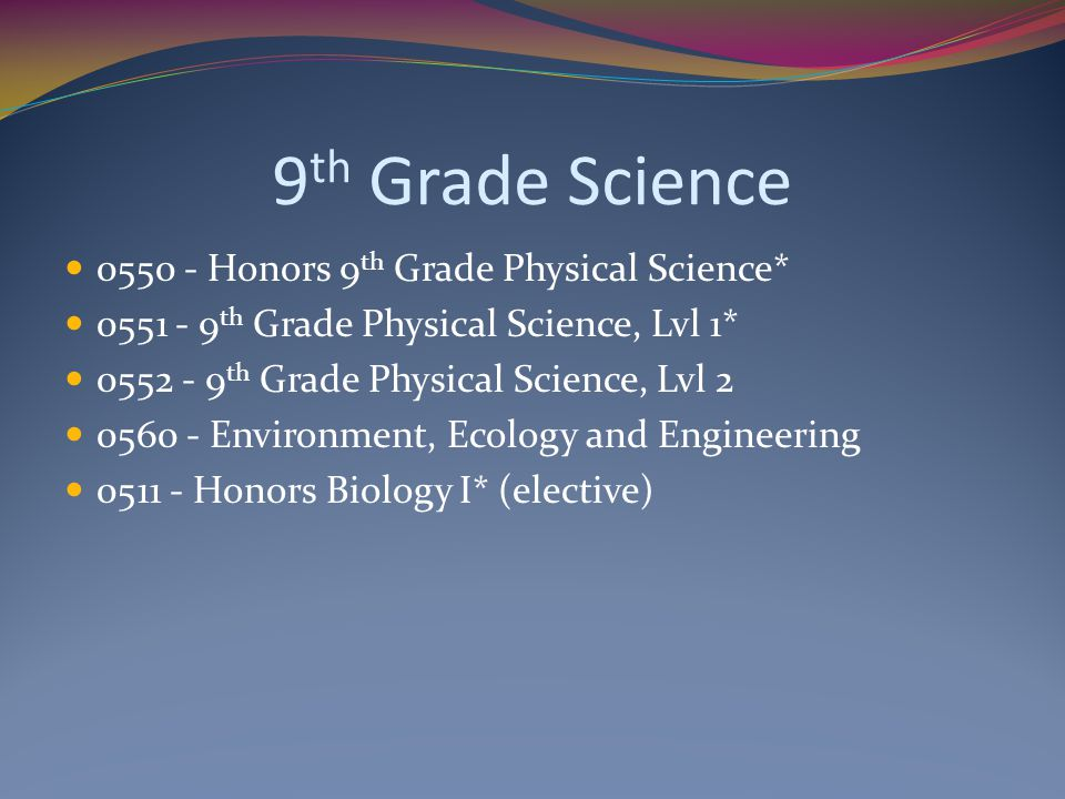 9th Grade Science 0550 - Honors 9th Grade Physical Science*