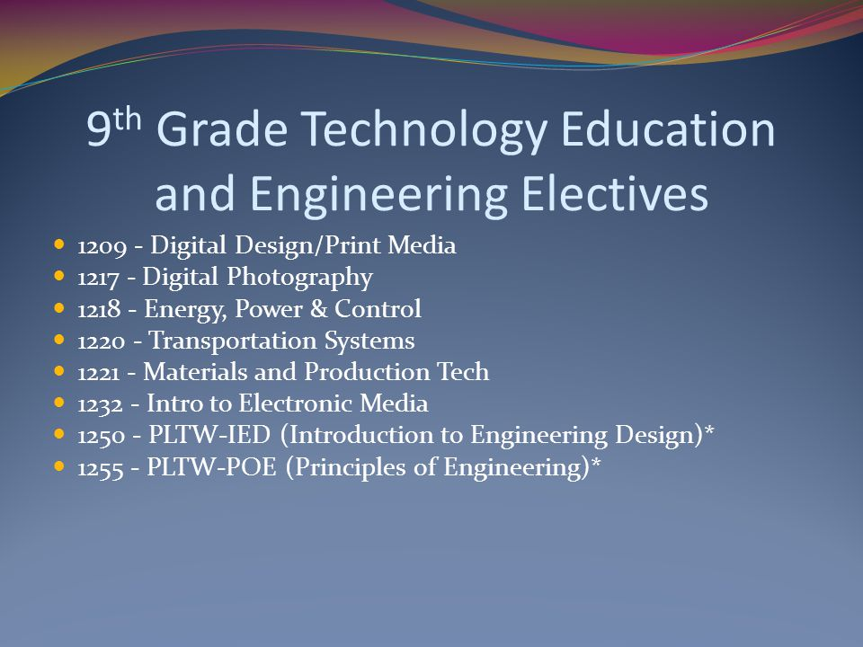 9th Grade Technology Education and Engineering Electives