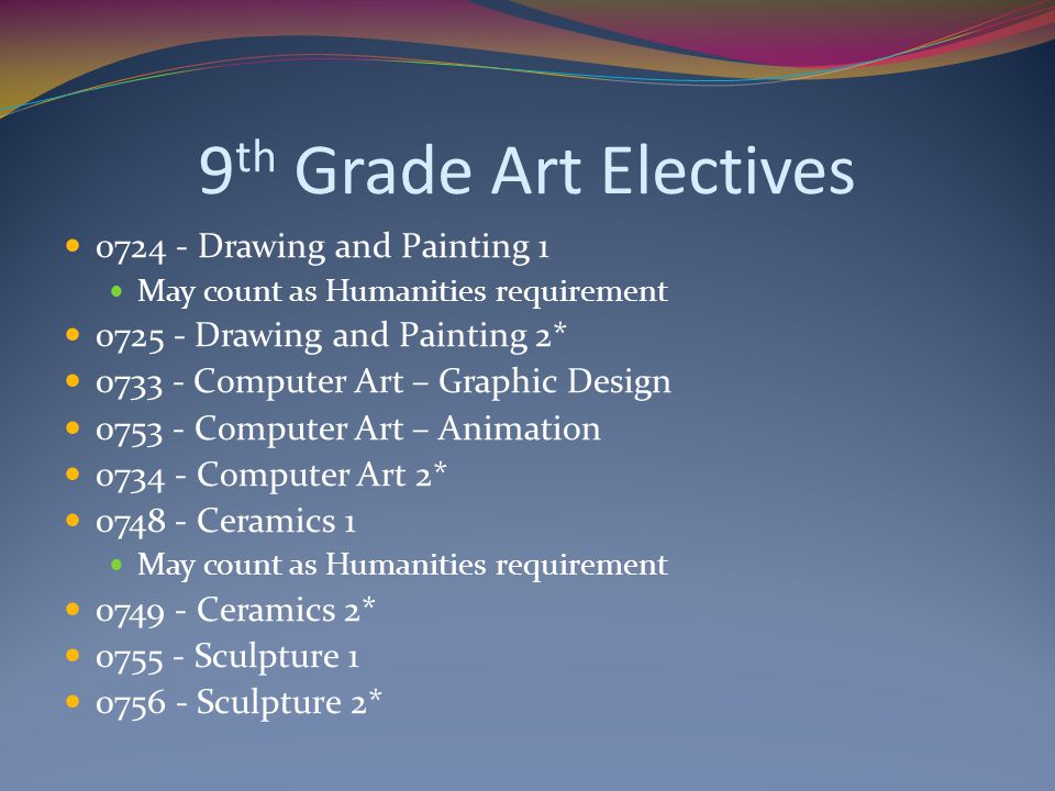 9th Grade Art Electives 0724 - Drawing and Painting 1