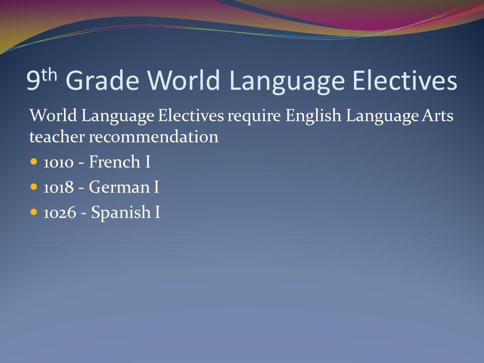 9th Grade World Language Electives