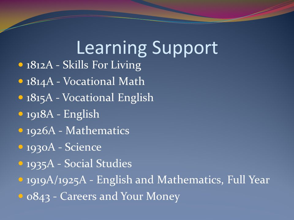 Learning Support 1812A - Skills For Living 1814A - Vocational Math