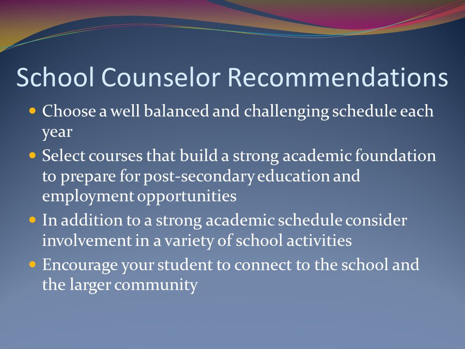 School Counselor Recommendations