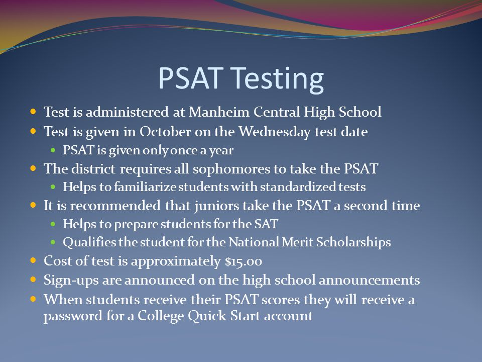 PSAT Testing Test is administered at Manheim Central High School