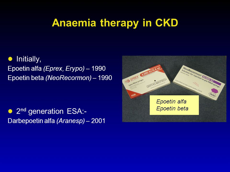Anaemia therapy in CKD Initially, 2nd generation ESA:-