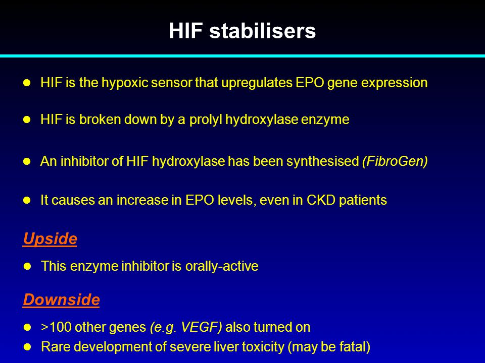 HIF stabilisers Upside Downside