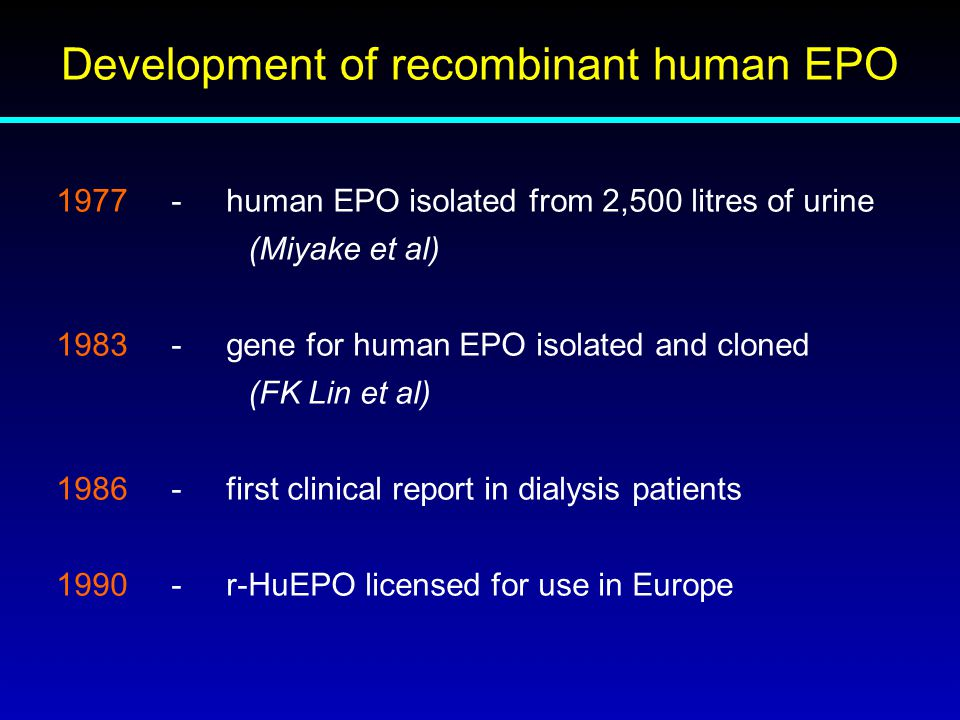 Development of recombinant human EPO