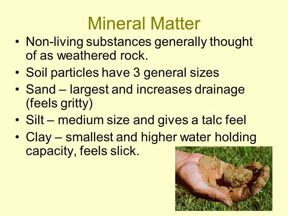 Mineral Matter Non-living substances generally thought of as weathered rock. Soil particles have 3 general sizes.