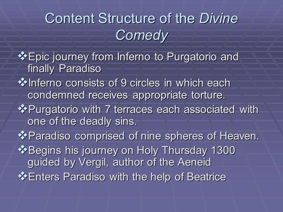 Content Structure of the Divine Comedy