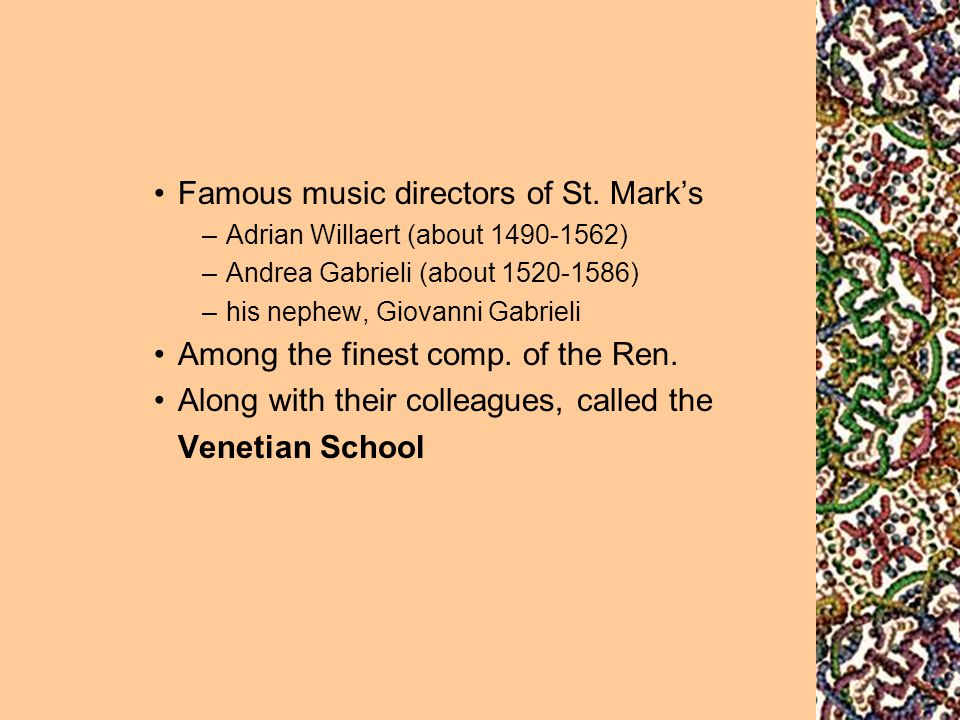 Famous music directors of St. Mark's