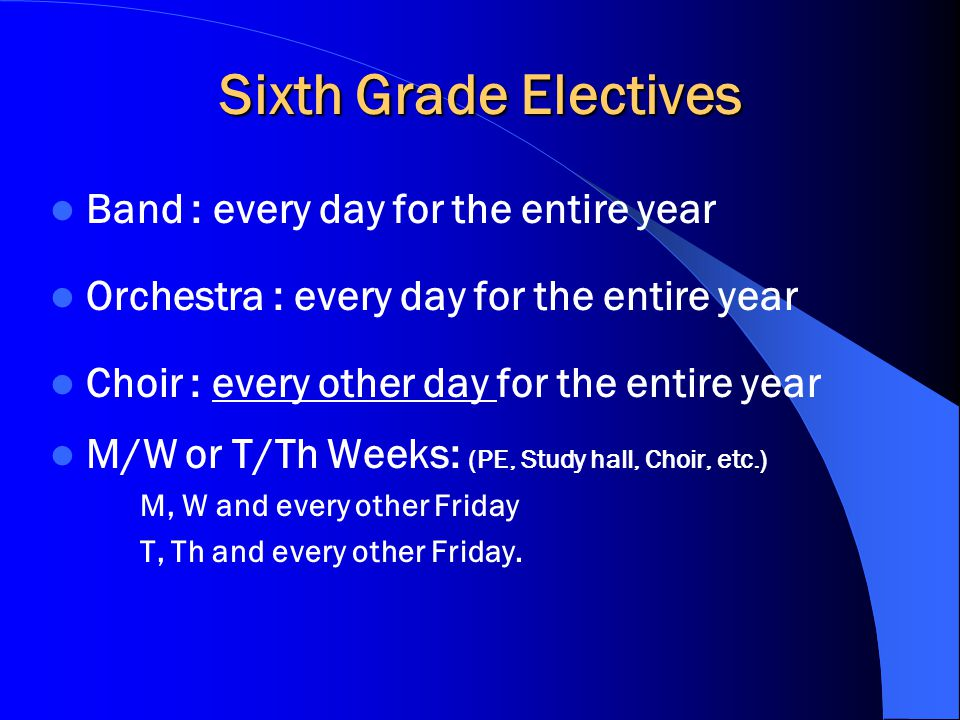 Sixth Grade Electives Band : every day for the entire year