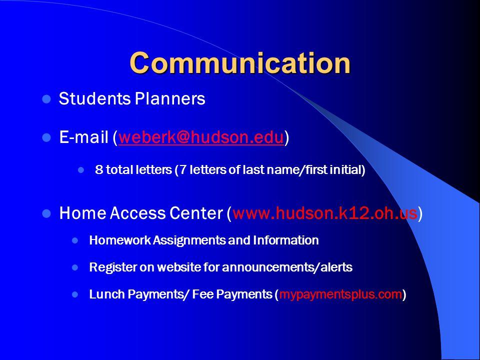 Communication Students Planners E-mail (weberk@hudson.edu)